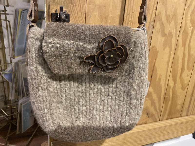 Wool Cross Body with American Leather Flower and Strap