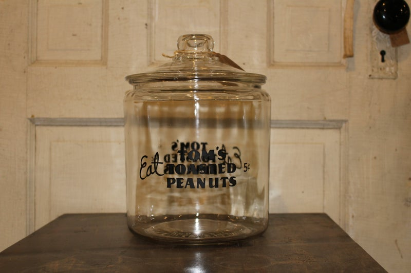 Tom's Roasted Peanuts Store Counter Display Jar