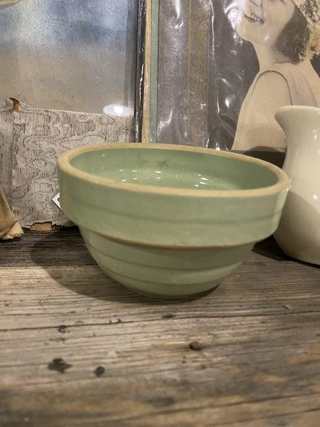 "5"" Green Banded Crock Bowl"