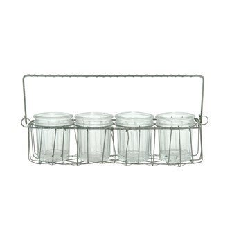 Wire Holder with 4 Glass Votives/Vases