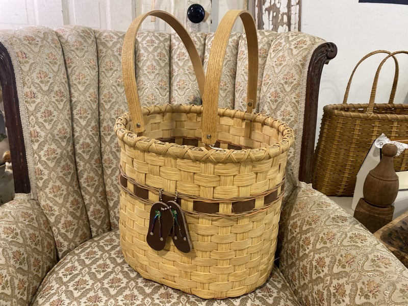 Handcrafted Large Basket with Leather Details
