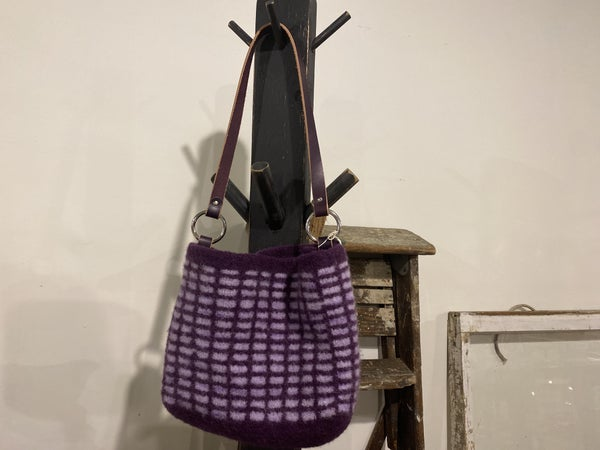 Wool Bag with American Leather Handle