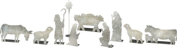 Galvanized Metal Nativity Scene