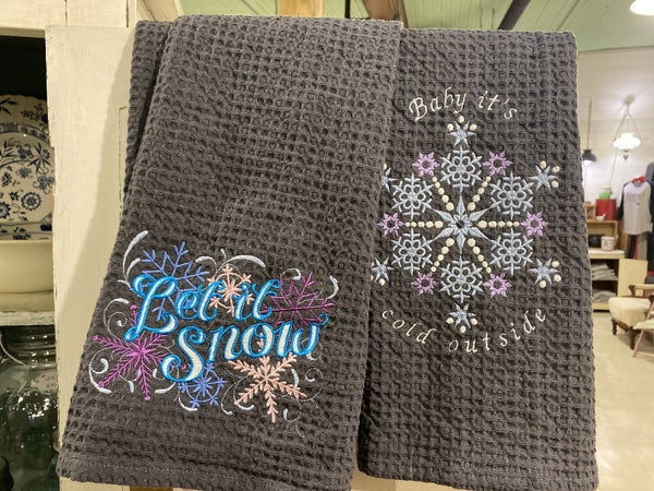 Winter Embroidered Dish Towel