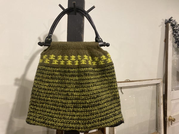 Green Wool Bag with American Leather Handles