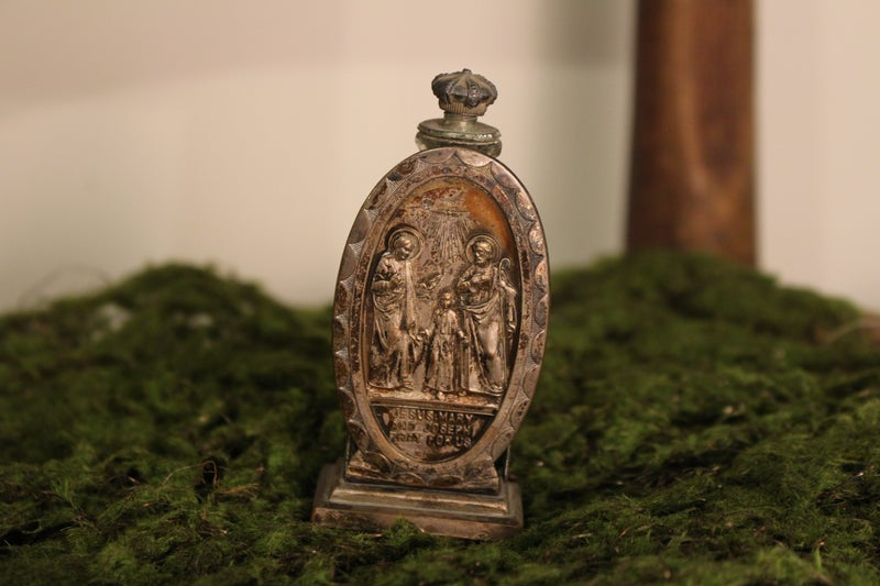 Vintage Holy Water Bottle with Silver Holder
