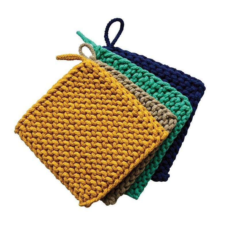 "8"" Square Cotton Crocheted Pot Holder"