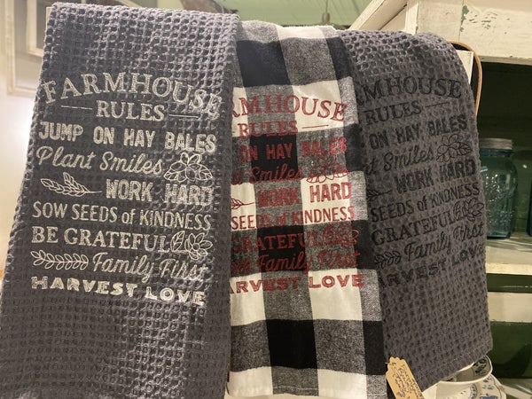 Farmhouse Rules Embroidered Dish Towel