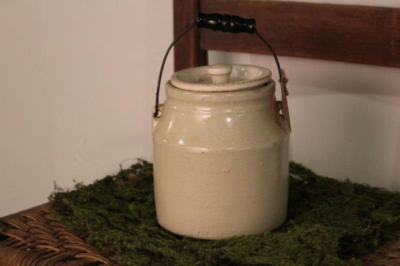 Antique Small White Crock with Handle & Lid