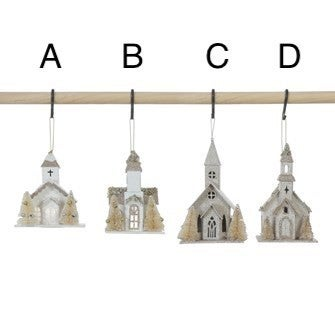 Paper Church Ornament, LED Light