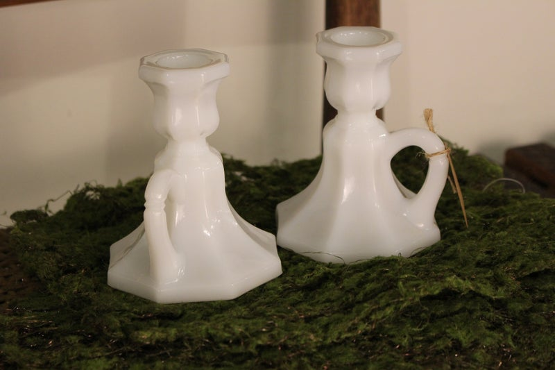 Vintage 2 pc. Mick Glass Candle Holders with Finger Loop