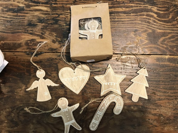 Wood Ginger Bread Ornaments