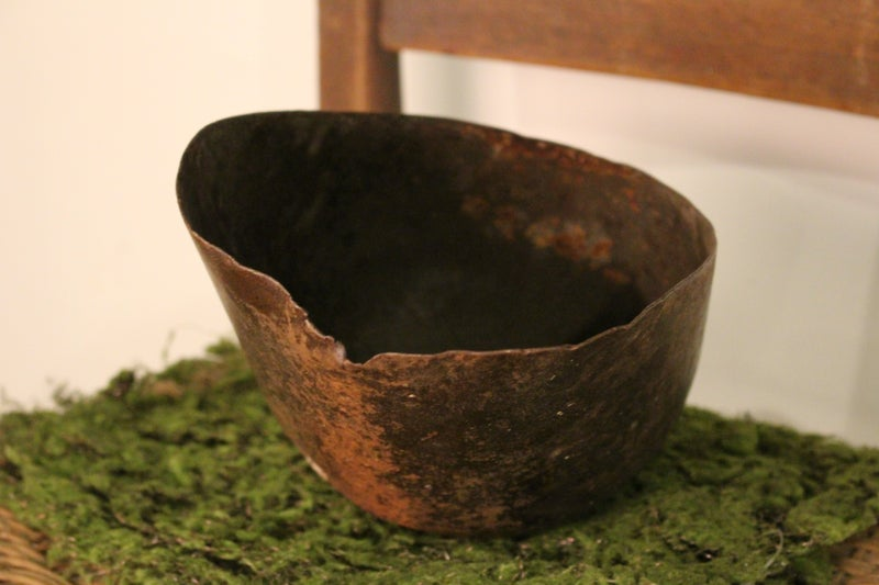 Antique Primitive hooded Feed Scoop with Wood Handle