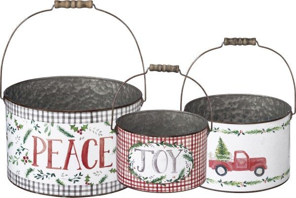 Christmas Buckets with Watercolor Artwork