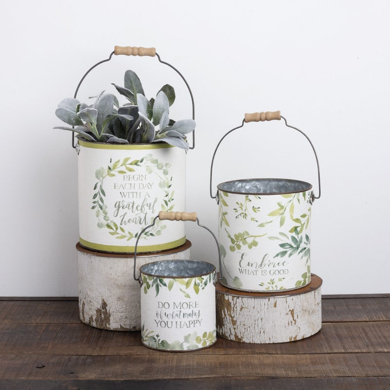 Buckets with Greenery Print