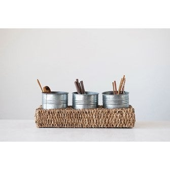 Tray with 3 Metal Containers