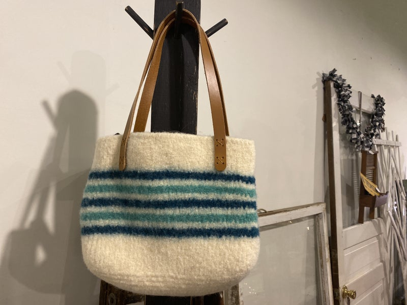 Wool Purse with American Leather Handles