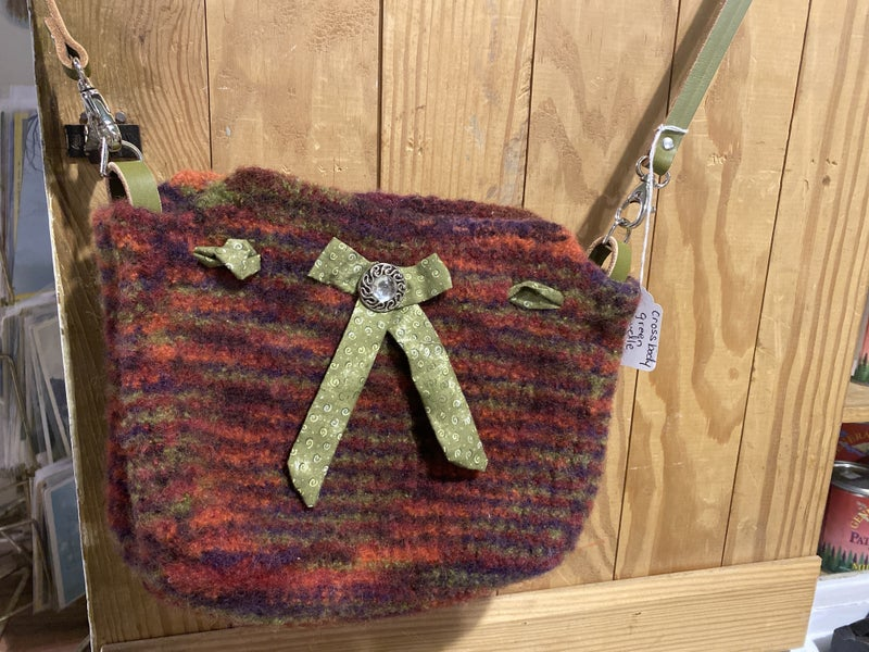 Wool Cross Body Bag with American Leather Strap
