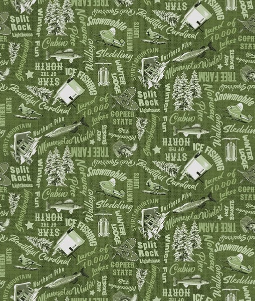 QMN 2021 MN Words Olive 1/2 Yard Increment
