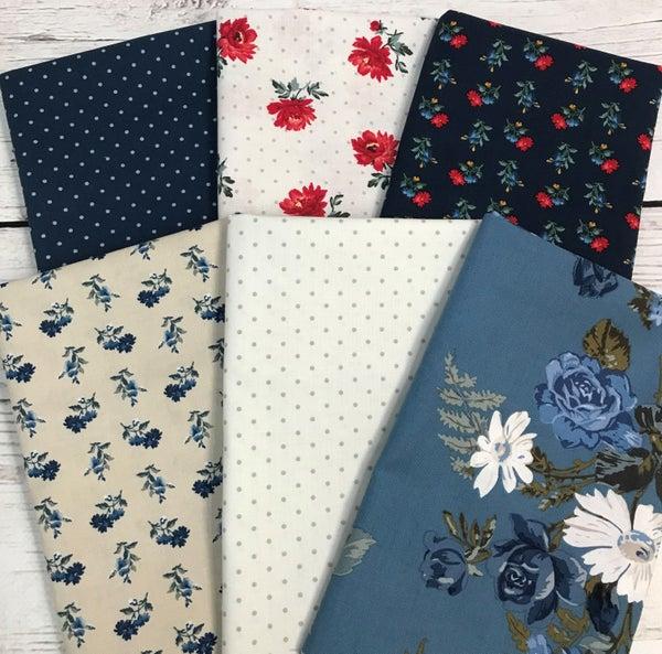 Six Half Yard Cuts - Blue Flowers