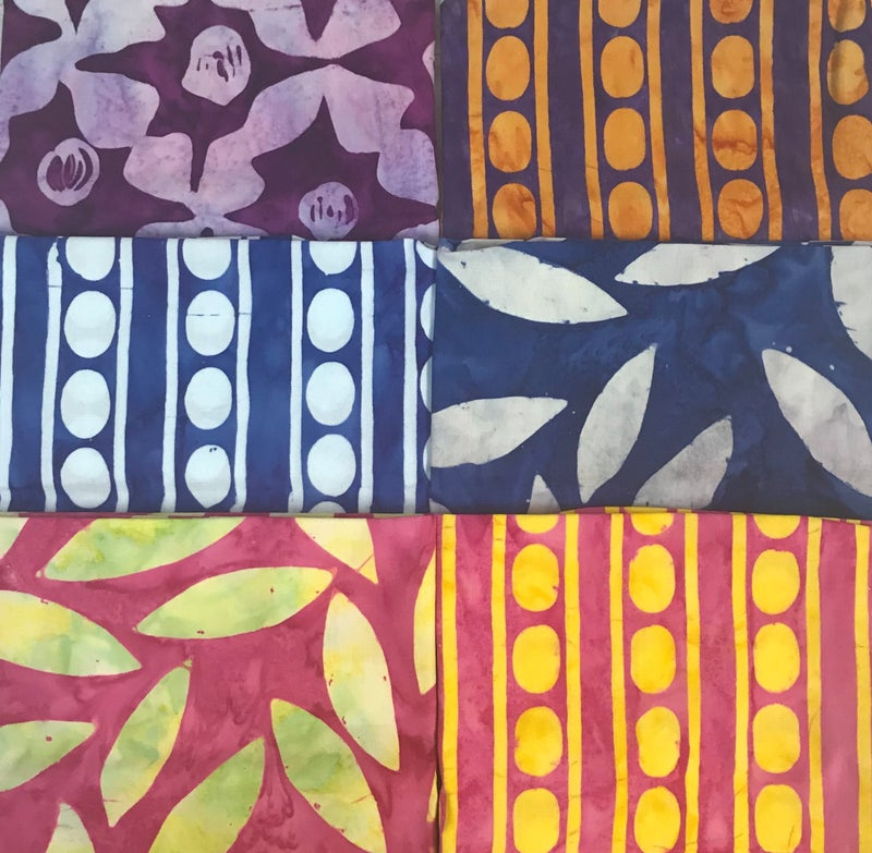 Fat Quarter Bundle (6) Batik Stripes & Leaves