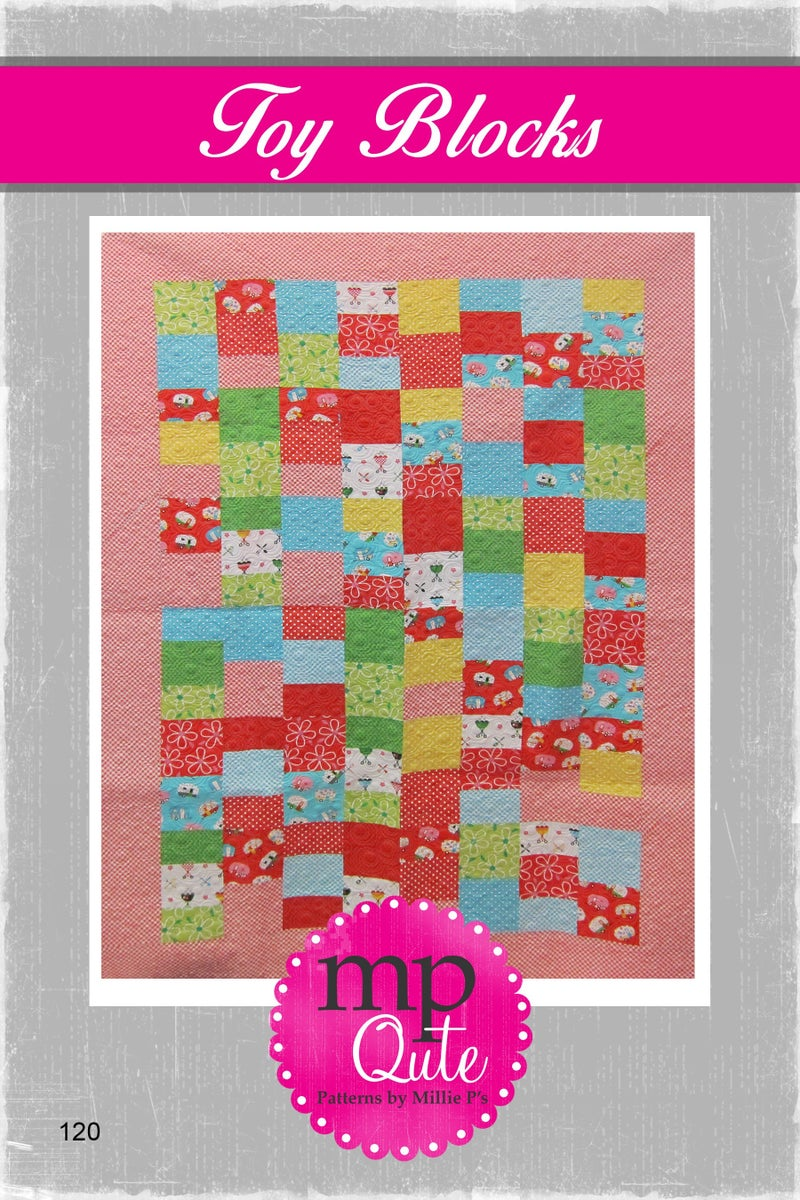 "MP Qute Pattern:  Toy Blocks 49"" x 69"" or 53"" x 73"""