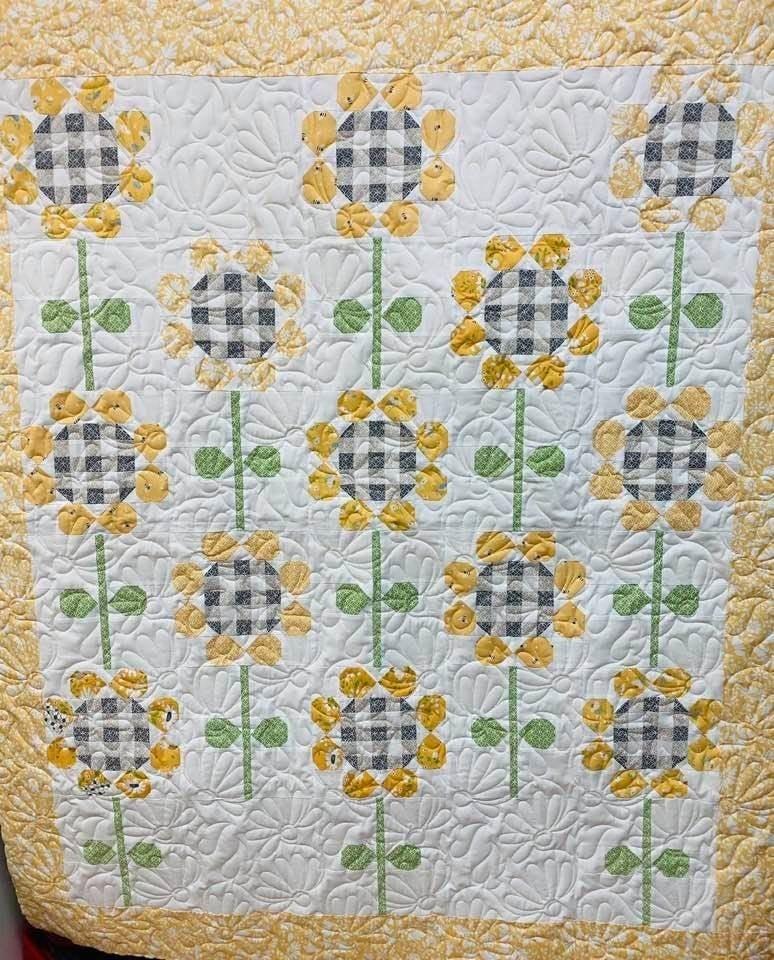 "Kit:  Rain Check Yellow Sunflower  54"" x 74"" NEED PATTERN"