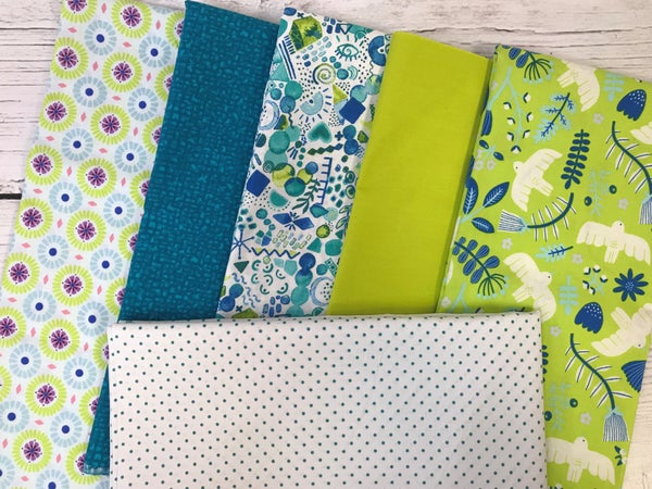 Kit - French Weave Pattern - Marbella Acid Green with Swiss Dot Teal background fabric