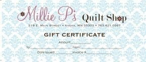 Millie P's In-Store Gift Card $100