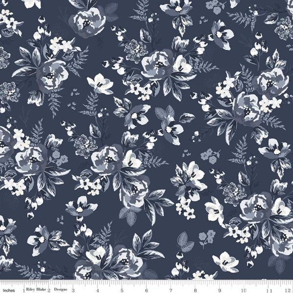 Riley Blake  Gingham Foundry Floral Navy - 1 Yard