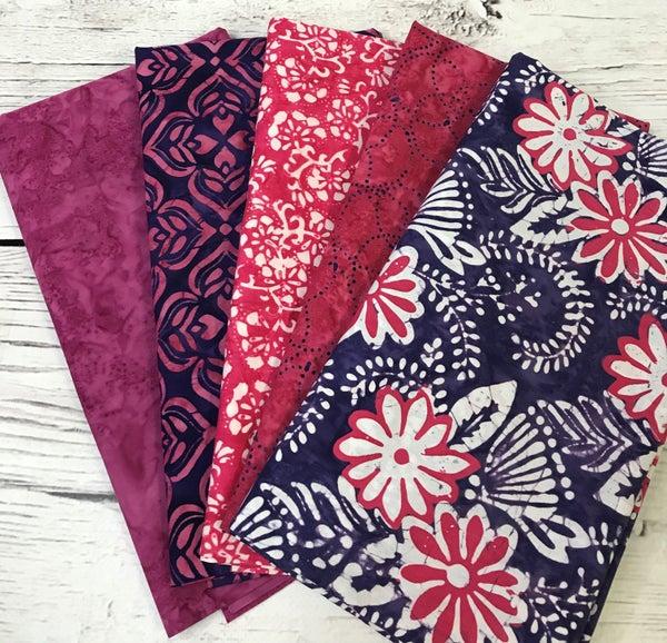 One Yard Cuts (5) - Batik Pink and Purple Medley