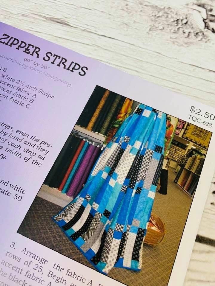 "Pattern:  KM Zipper Strips 50"" x 69"""