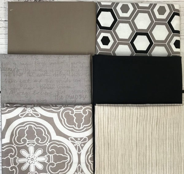 Fat Quarter Bundle (6) Taupe and Black