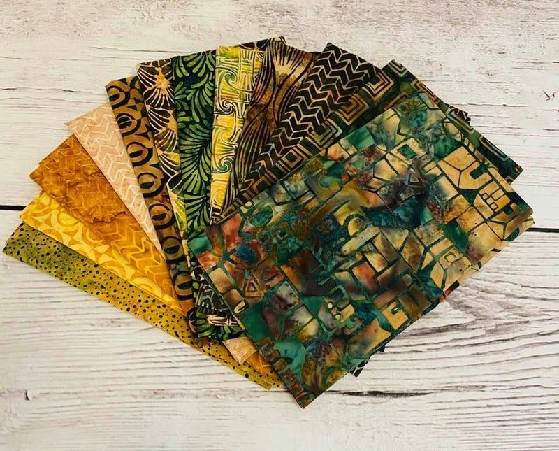 Batik FQ Bundle (12) Greens Browns Island Batik