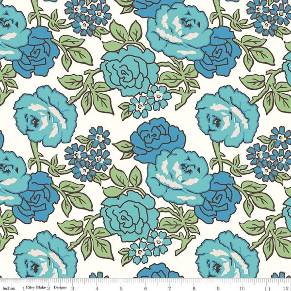 RIley Blake Flea Market Wideback Blue Roses - One Yard - duplicate