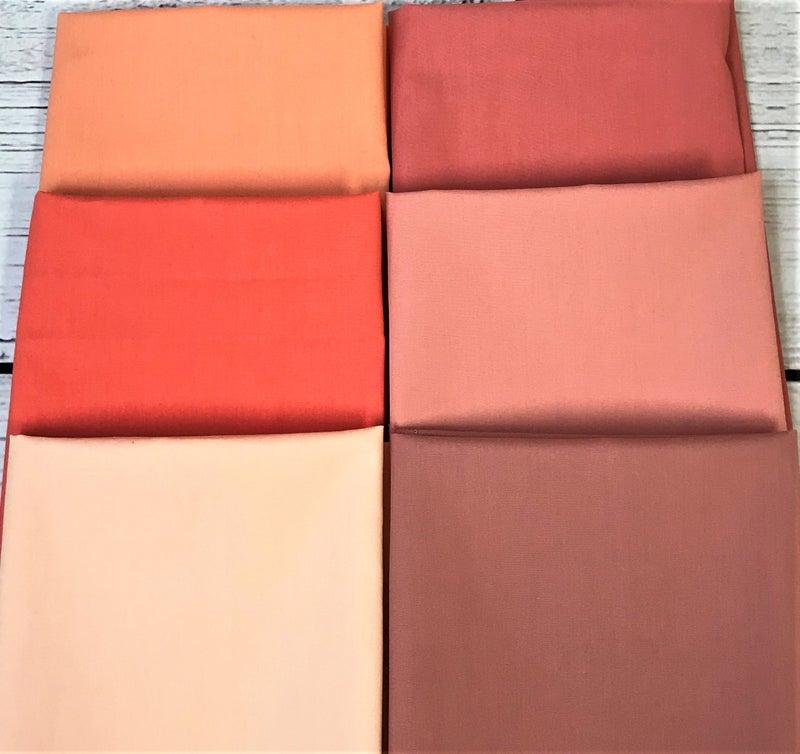 Fat Quarter Bundle (6) Solids in Peach