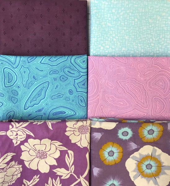Fat Quarter Bundle (6) Purple Flowers