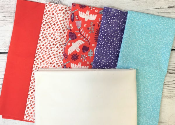 Kit - French Weave Pattern - Marbella Salmon with Moda Bleached White background fabric