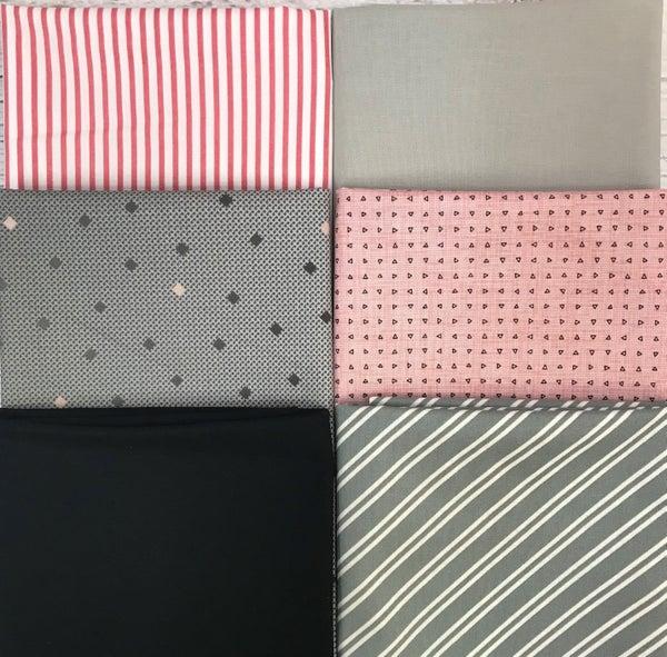 Fat Quarter Bundle (6) Pink Grey and Black