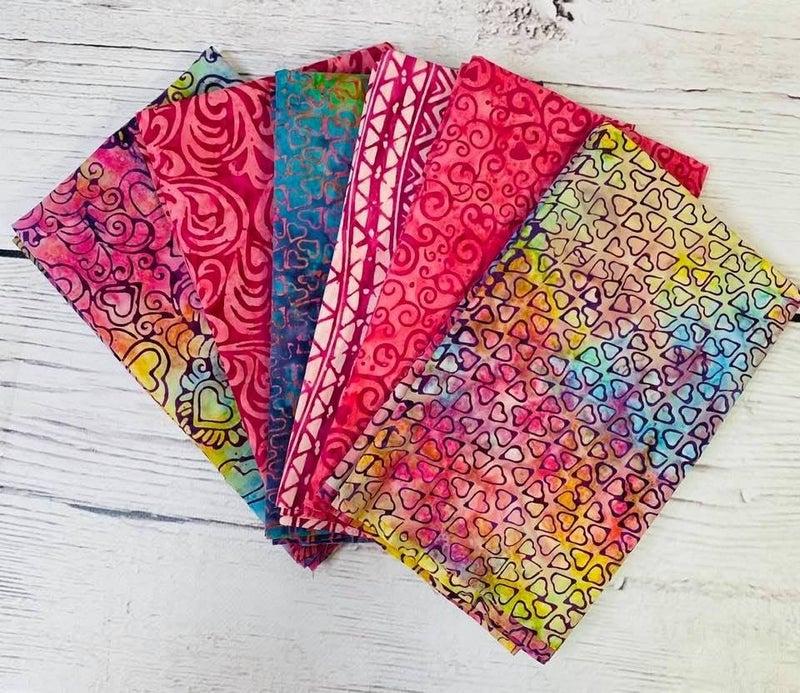 Batik Bundle Six Half-Yard Cuts Hearts of Love
