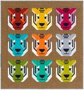 """Quilt Kit: Antonio Tiger 52"""" x 55"""" Inc. Ptrn/Fabric/Bndg"""