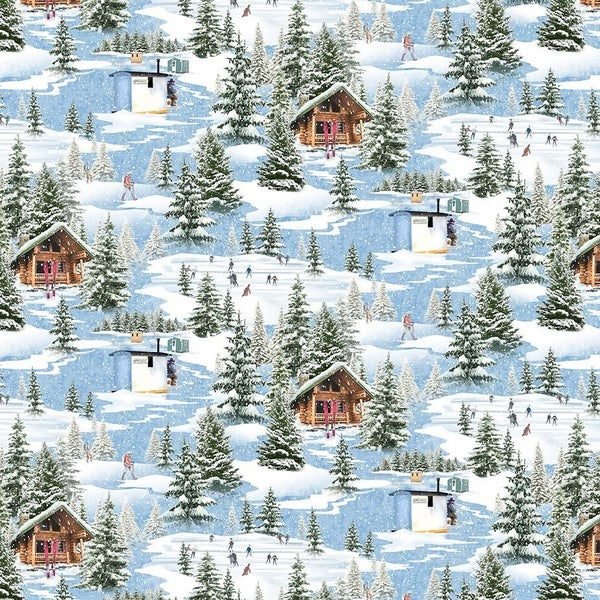 QMN 2021 Digital Winter Toile Blue 1/2 Yard Increment