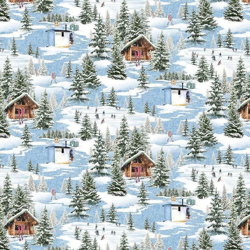 QMN 2021 Digital Winter Toile Blue 1/2 Yard Increment