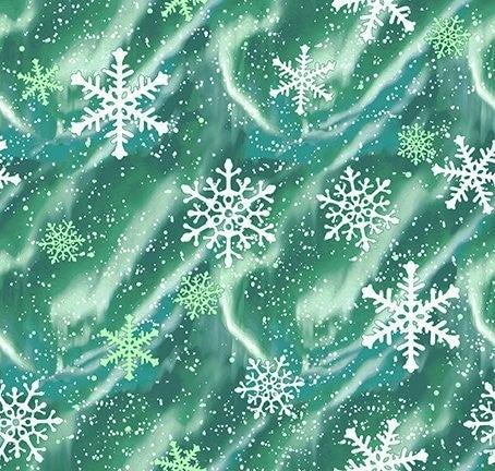 QMN 2021 Aurora Snow Emerald 1/2 Yard Increment