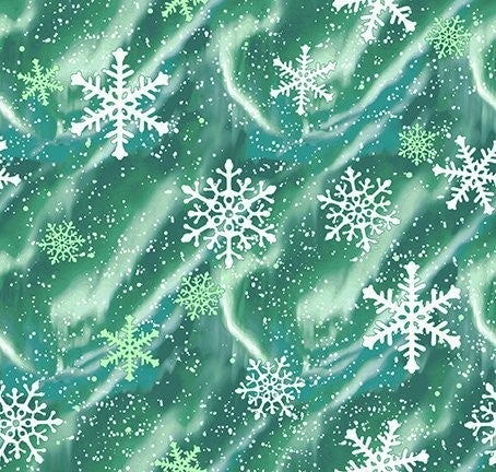QMN 2021 Aurora Snow Emerald 1/2 Yard Increment