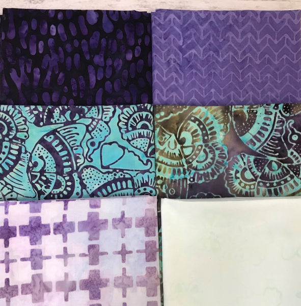 Fat Quarter Bundle (6) Batik Aqua Butterflies with Purple