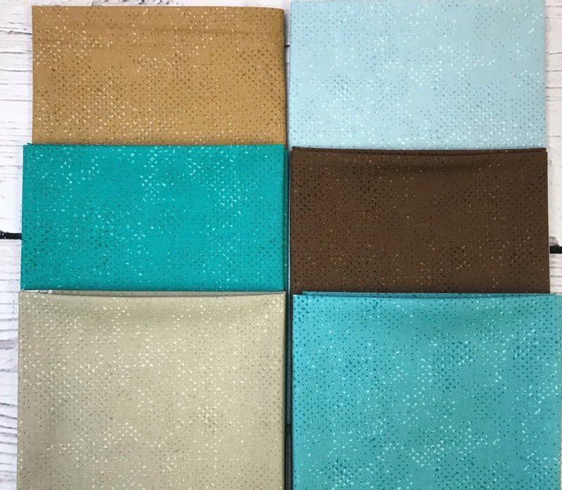 Fat Quarter Bundle (6) Brown and Teal Spotted