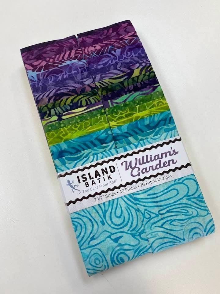 "Pre-Cut:  Island Batik Williams Garden Strip Set (40) 2 1/2"" strips"
