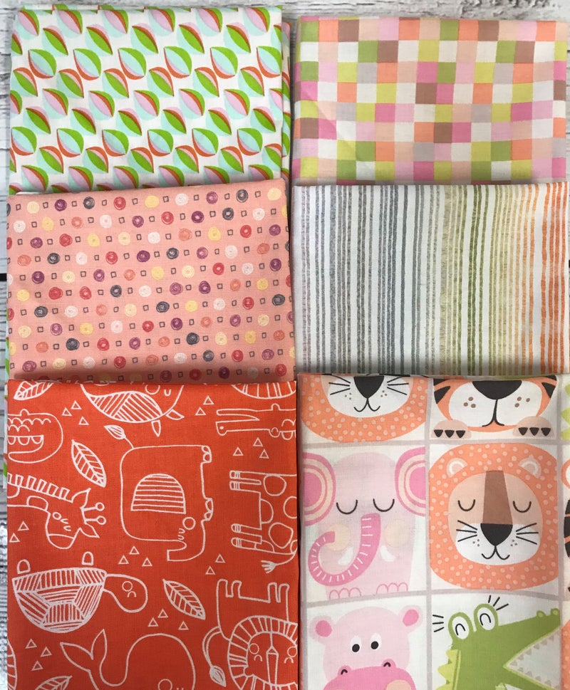 Fat Quarter Bundle (6) Zoo Animals and Pastels