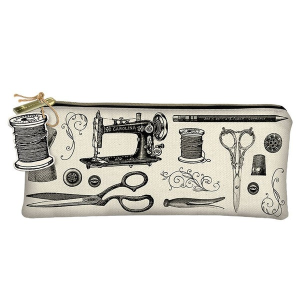 Sewing Themed Zippered Pencil Pouch (Canvas)